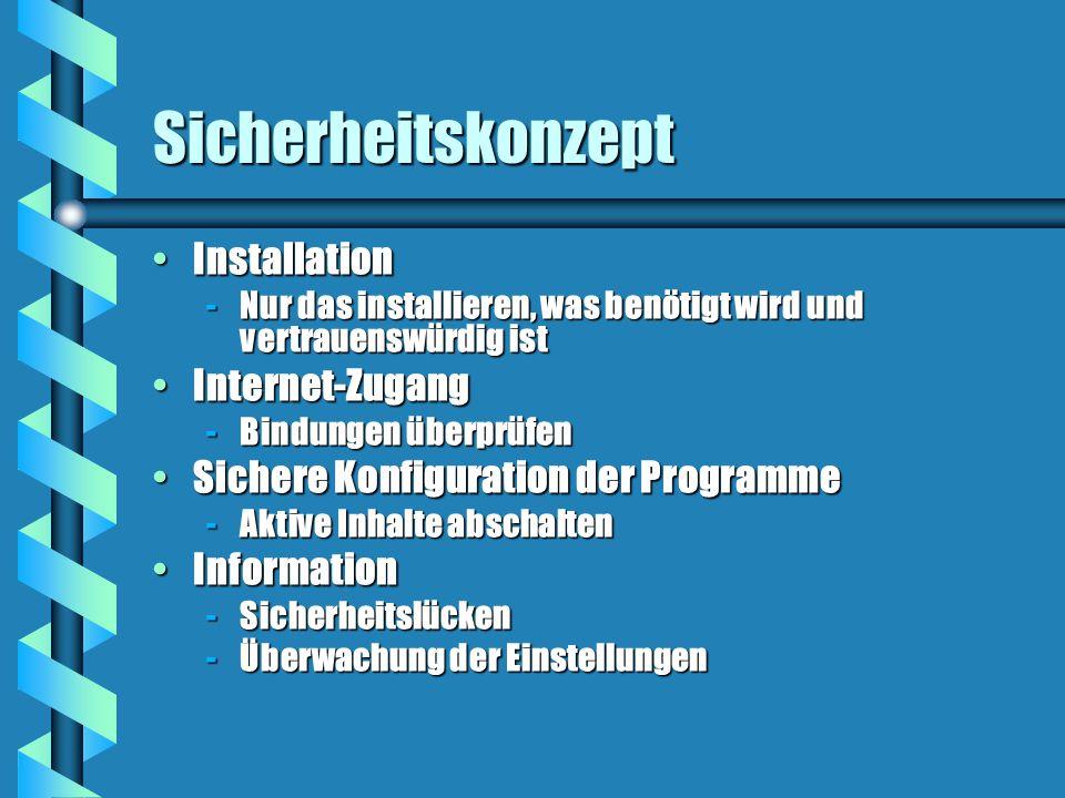 Sicherheitskonzept InstallationInstallation -Nur das installieren, was benötigt wird und vertrauenswürdig ist Internet-ZugangInternet-Zugang -Bindungen überprüfen Sichere Konfiguration der ProgrammeSichere Konfiguration der Programme -Aktive Inhalte abschalten InformationInformation -Sicherheitslücken -Überwachung der Einstellungen