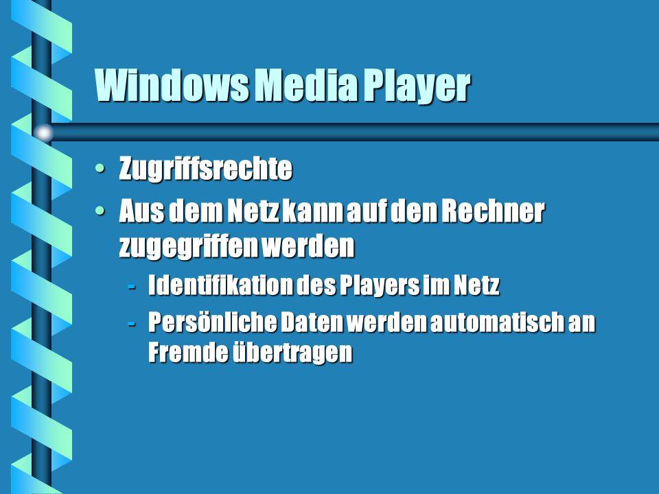 Windows Media Player ZugriffsrechteZugriffsrechte Aus dem Netz kann auf den Rechner zugegriffen werdenAus dem Netz kann auf den Rechner zugegriffen werden -Identifikation des Players im Netz -Persönliche Daten werden automatisch an Fremde übertragen