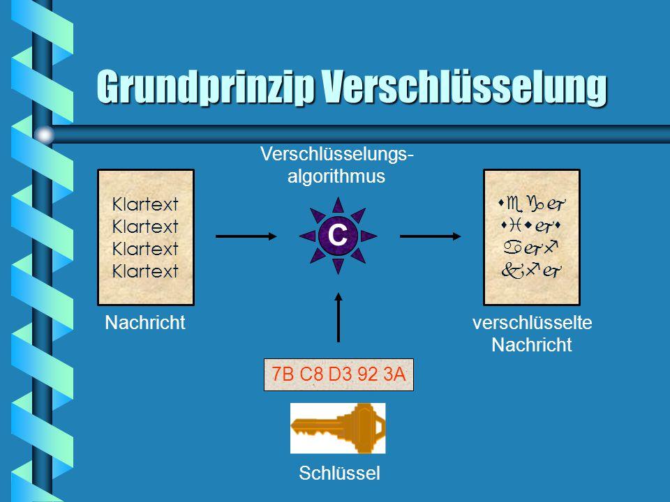 Grundprinzip Verschlüsselung 7B C8 D3 92 3A Schlüssel Nachrichtverschlüsselte Nachricht Klartext     Verschlüsselungs- algorithmus C