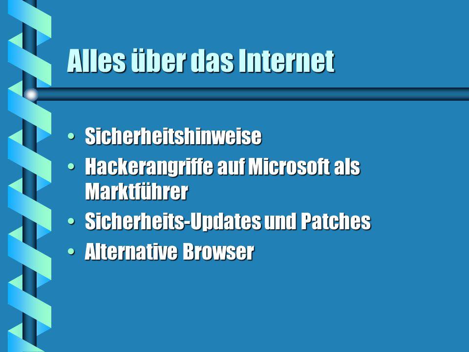 Alles über das Internet SicherheitshinweiseSicherheitshinweise Hackerangriffe auf Microsoft als MarktführerHackerangriffe auf Microsoft als Marktführer Sicherheits-Updates und PatchesSicherheits-Updates und Patches Alternative BrowserAlternative Browser