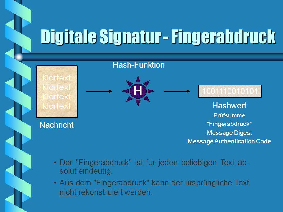 Digitale Signatur - Fingerabdruck 1001110010101 Nachricht Hashwert Prüfsumme Fingerabdruck Message Digest Message Authentication Code Klartext Hash-Funktion H Der Fingerabdruck ist für jeden beliebigen Text ab- solut eindeutig.