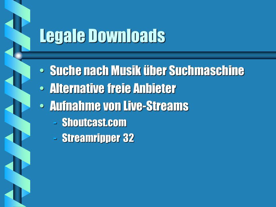 Legale Downloads Suche nach Musik über SuchmaschineSuche nach Musik über Suchmaschine Alternative freie AnbieterAlternative freie Anbieter Aufnahme von Live-StreamsAufnahme von Live-Streams -Shoutcast.com -Streamripper 32