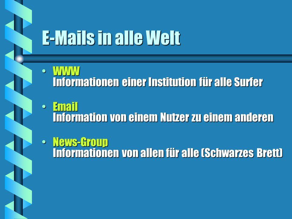 E-Mails in alle Welt WWW Informationen einer Institution für alle SurferWWW Informationen einer Institution für alle Surfer Email Information von einem Nutzer zu einem anderenEmail Information von einem Nutzer zu einem anderen News-Group Informationen von allen für alle (Schwarzes Brett)News-Group Informationen von allen für alle (Schwarzes Brett)