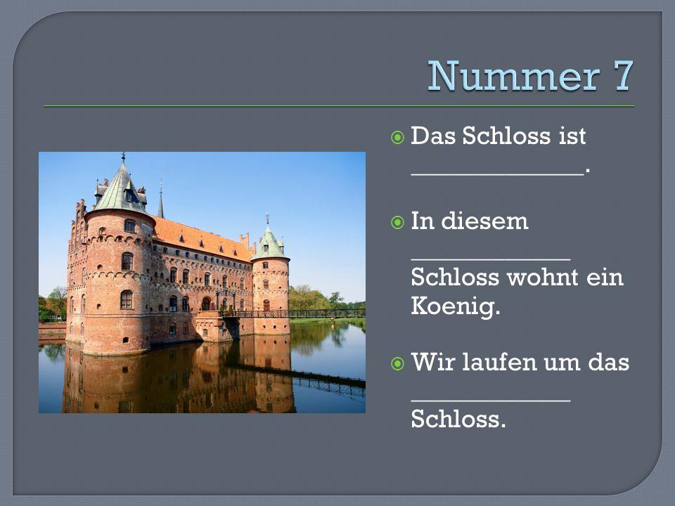  Das Schloss ist _____________.  In diesem ____________ Schloss wohnt ein Koenig.