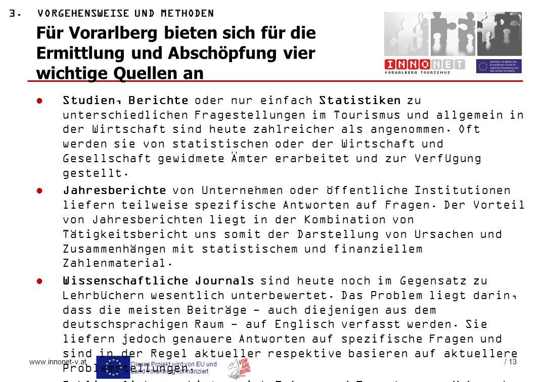 Dieses Projekt wird von EU und Land Vorarlberg kofinanziert www.innonet-v.at / 13 3.VORGEHENSWEISE UND METHODEN Für Vorarlberg bieten sich für die Erm