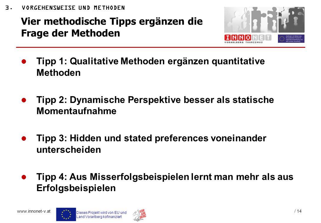 Dieses Projekt wird von EU und Land Vorarlberg kofinanziert www.innonet-v.at / 14 Vier methodische Tipps ergänzen die Frage der Methoden 3.VORGEHENSWE