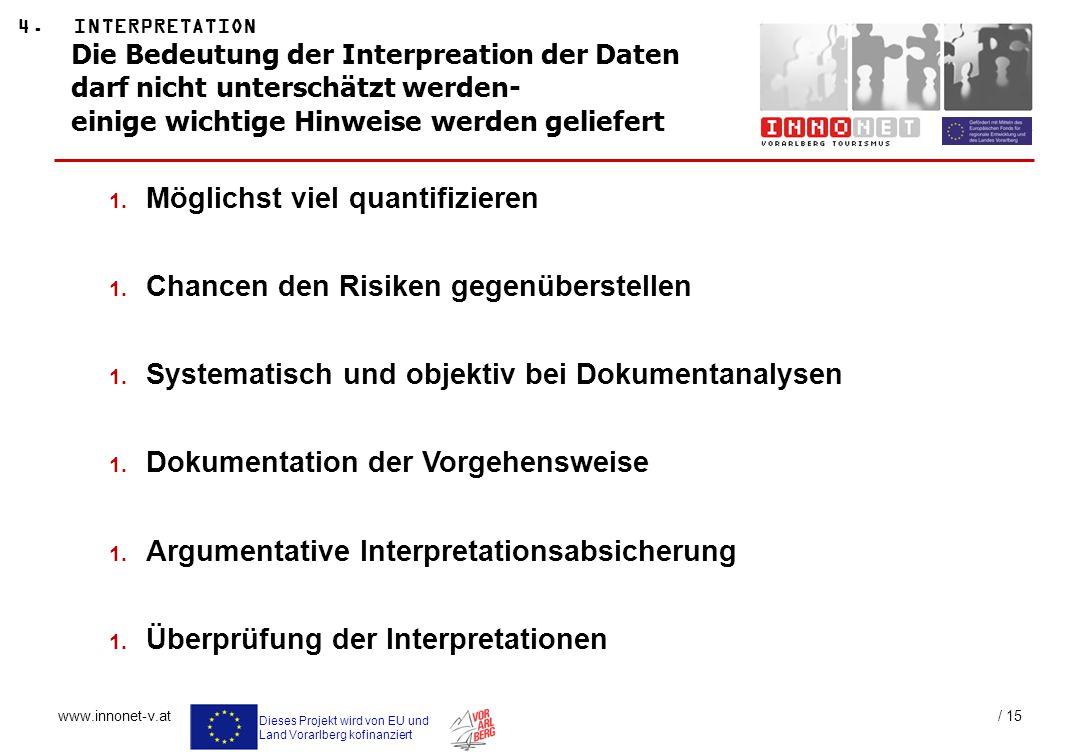 Dieses Projekt wird von EU und Land Vorarlberg kofinanziert www.innonet-v.at / 15 Die Bedeutung der Interpreation der Daten darf nicht unterschätzt we