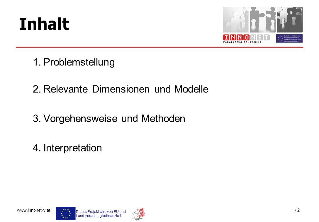 Dieses Projekt wird von EU und Land Vorarlberg kofinanziert www.innonet-v.at / 2 Inhalt 1.Problemstellung 2.Relevante Dimensionen und Modelle 3.Vorgeh