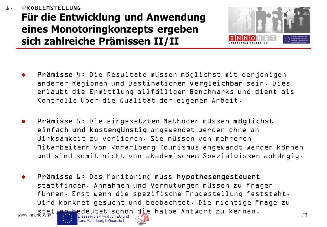 Dieses Projekt wird von EU und Land Vorarlberg kofinanziert www.innonet-v.at / 6 Für die Entwicklung und Anwendung eines Monotoringkonzepts ergeben si