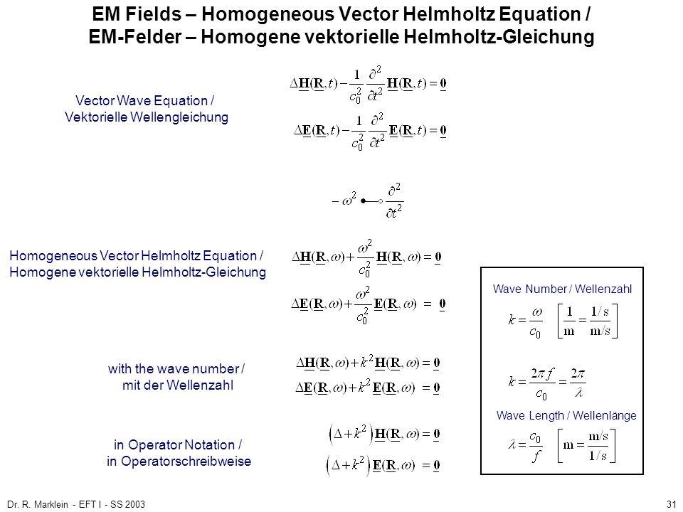 Dr. R. Marklein - EFT I - SS 200331 EM Fields – Homogeneous Vector Helmholtz Equation / EM-Felder – Homogene vektorielle Helmholtz-Gleichung Homogeneo