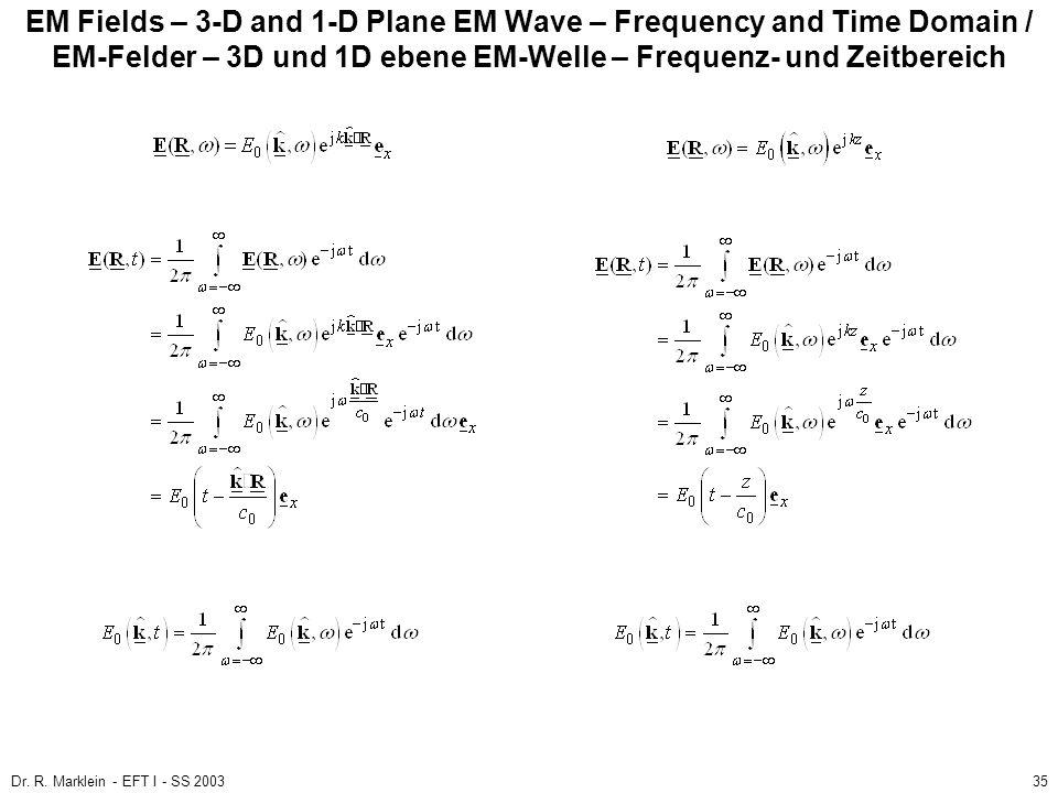Dr. R. Marklein - EFT I - SS 200335 EM Fields – 3-D and 1-D Plane EM Wave – Frequency and Time Domain / EM-Felder – 3D und 1D ebene EM-Welle – Frequen