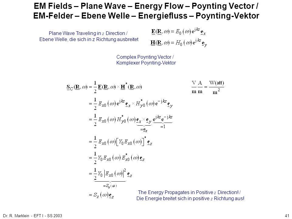 Dr. R. Marklein - EFT I - SS 200341 EM Fields – Plane Wave – Energy Flow – Poynting Vector / EM-Felder – Ebene Welle – Energiefluss – Poynting-Vektor