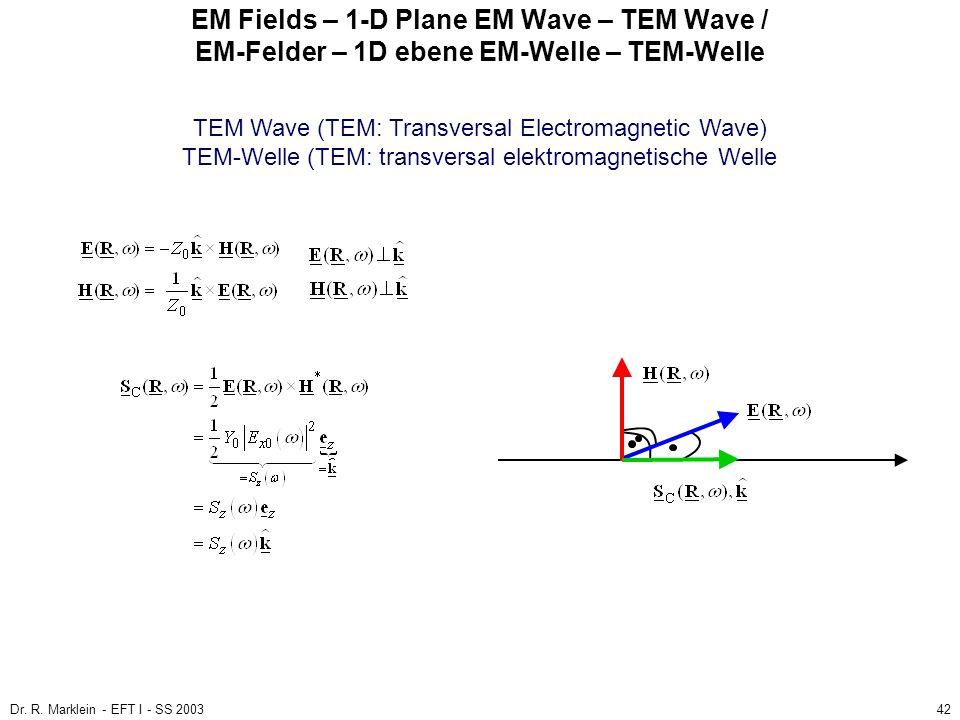 Dr. R. Marklein - EFT I - SS 200342 EM Fields – 1-D Plane EM Wave – TEM Wave / EM-Felder – 1D ebene EM-Welle – TEM-Welle TEM Wave (TEM: Transversal El