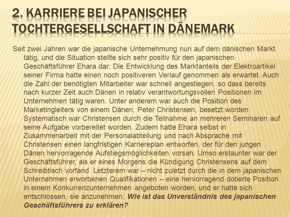 Seit zwei Jahren war die japanische Unternehmung nun auf dem dänischen Markt tätig, und die Situation stellte sich sehr positiv für den japanischen Ge