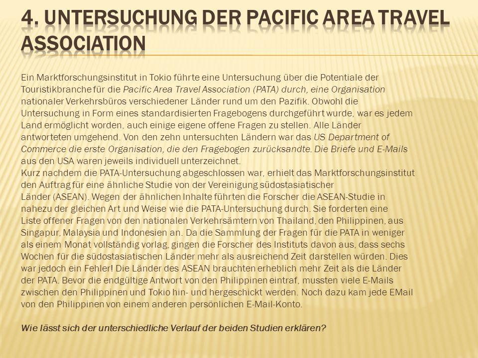 Ein Marktforschungsinstitut in Tokio führte eine Untersuchung über die Potentiale der Touristikbranche für die Pacific Area Travel Association (PATA)