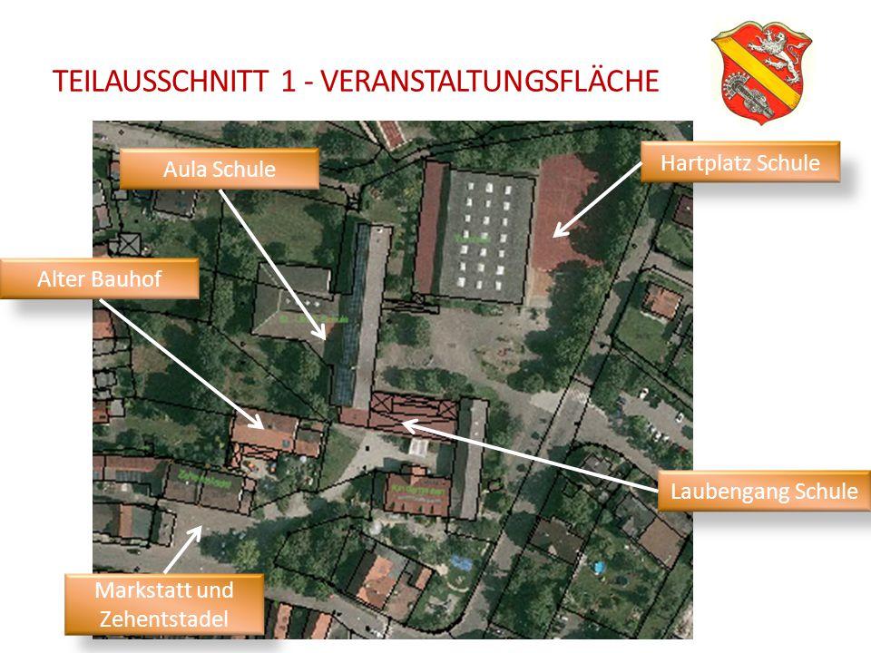 TEILAUSSCHNITT 1 - VERANSTALTUNGSFLÄCHE Hartplatz Schule Laubengang Schule Markstatt und Zehentstadel Aula Schule Alter Bauhof