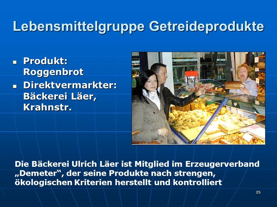 25 Lebensmittelgruppe Getreideprodukte Produkt: Roggenbrot Produkt: Roggenbrot Direktvermarkter: Bäckerei Läer, Krahnstr.