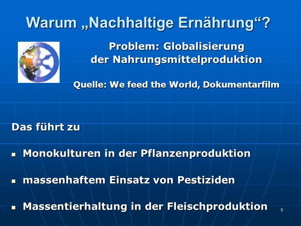 """5 Warum """"Nachhaltige Ernährung ."""