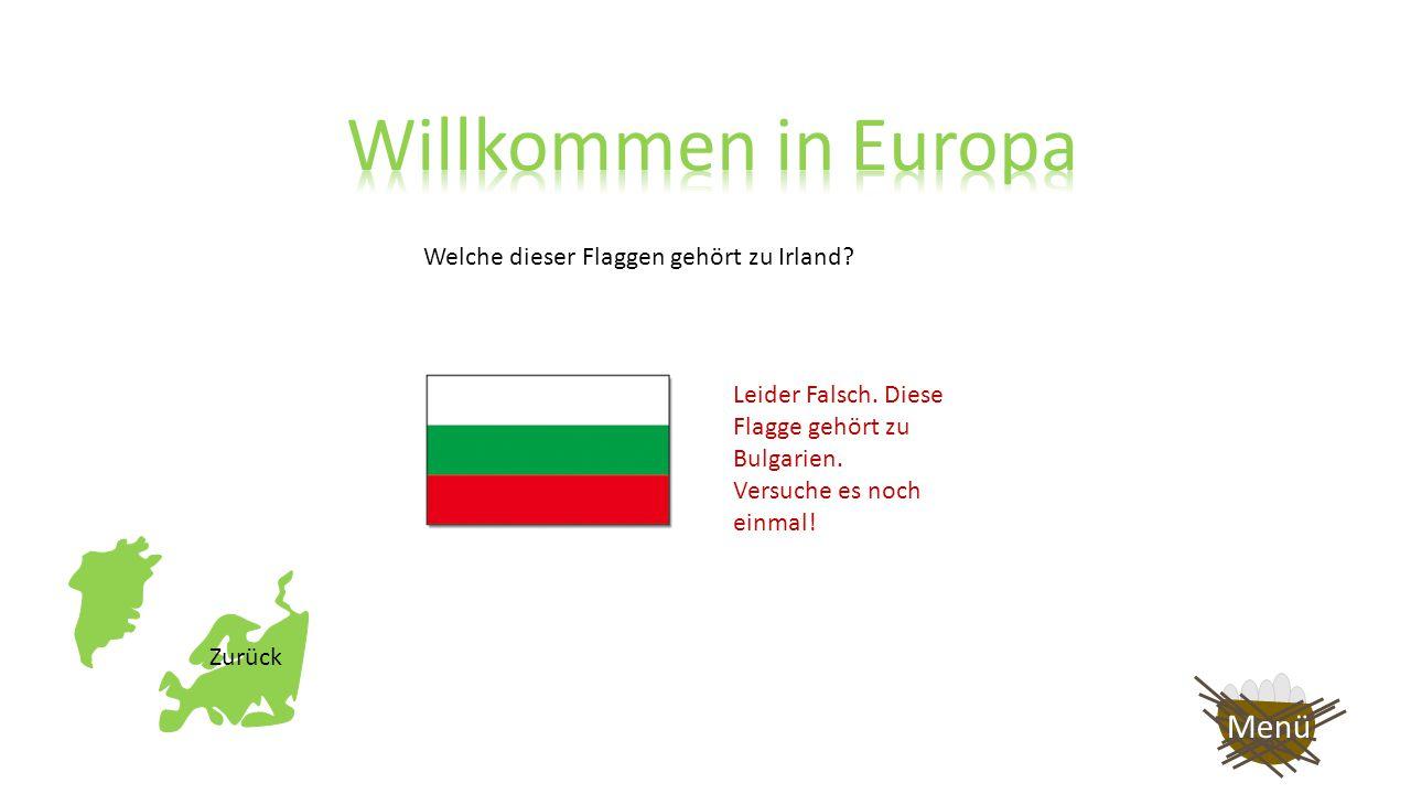 Welche dieser Flaggen gehört zu Irland? Leider Falsch. Diese Flagge gehört zu Polen. Versuche es noch einmal! Zurück Menü