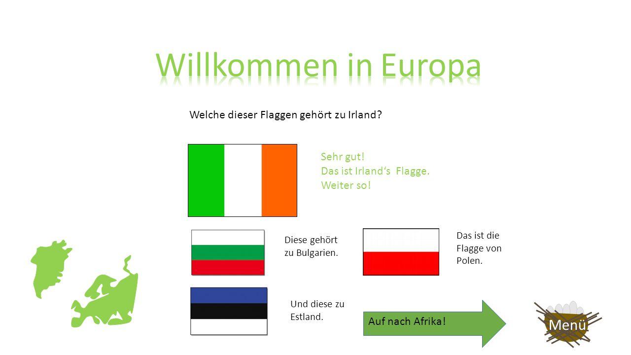 Welche dieser Flaggen gehört zu Irland? Leider Falsch. Diese Flagge gehört zu Bulgarien. Versuche es noch einmal! Zurück Menü