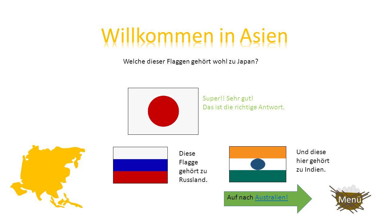 Welche dieser Flaggen gehört wohl zu Japan.Versuche es noch einmal.