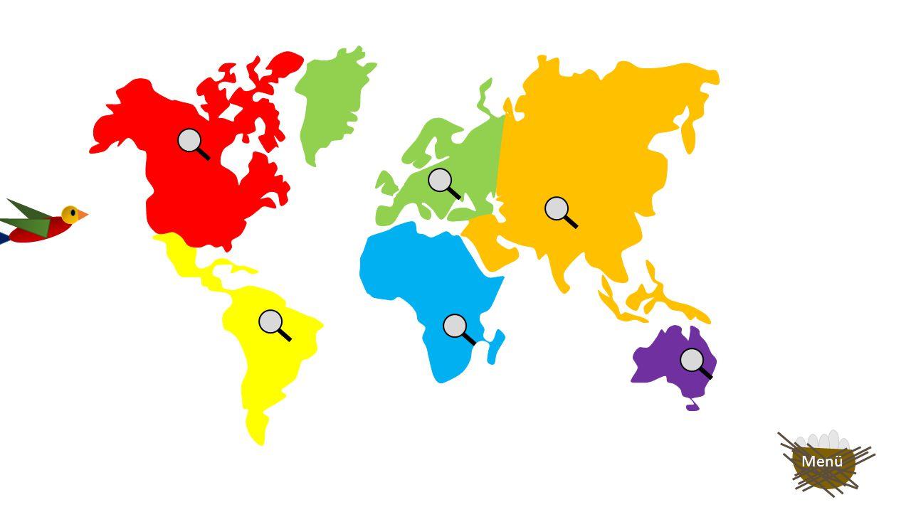 Wenn du auf den grünen Pfeil klickst, hast du 2 Sekunden Zeit, dir die Tiere, die auf dem jeweiligen Kontinent leben, zu merken.