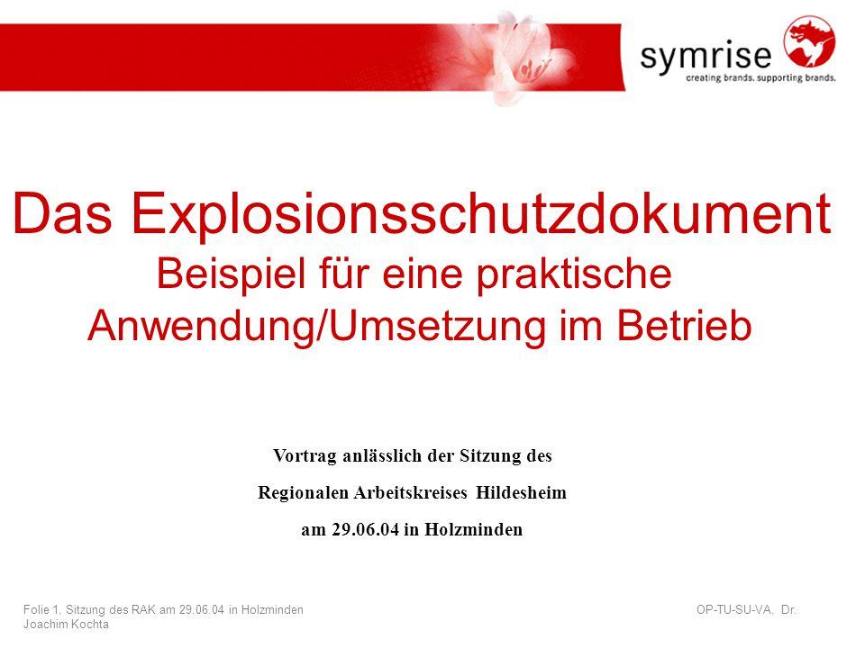 Folie 1, Sitzung des RAK am 29.06.04 in Holzminden OP-TU-SU-VA, Dr.