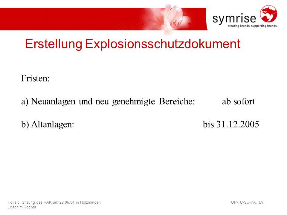 Folie 6, Sitzung des RAK am 29.06.04 in Holzminden OP-TU-SU-VA, Dr.