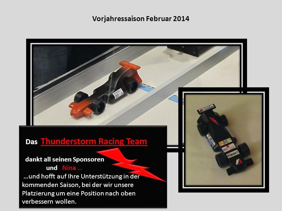 Vorjahressaison Februar 2014 Das Thunderstorm Racing Team dankt all seinen Sponsoren und Nina … …und hofft auf Ihre Unterstützung in der kommenden Saison, bei der wir unsere Platzierung um eine Position nach oben verbessern wollen.