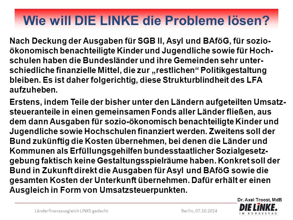 Dr. Axel Troost, MdB Länderfinanzausgleich LINKS gedachtBerlin, 07.10.2014 Wie will DIE LINKE die Probleme lösen? Nach Deckung der Ausgaben für SGB II