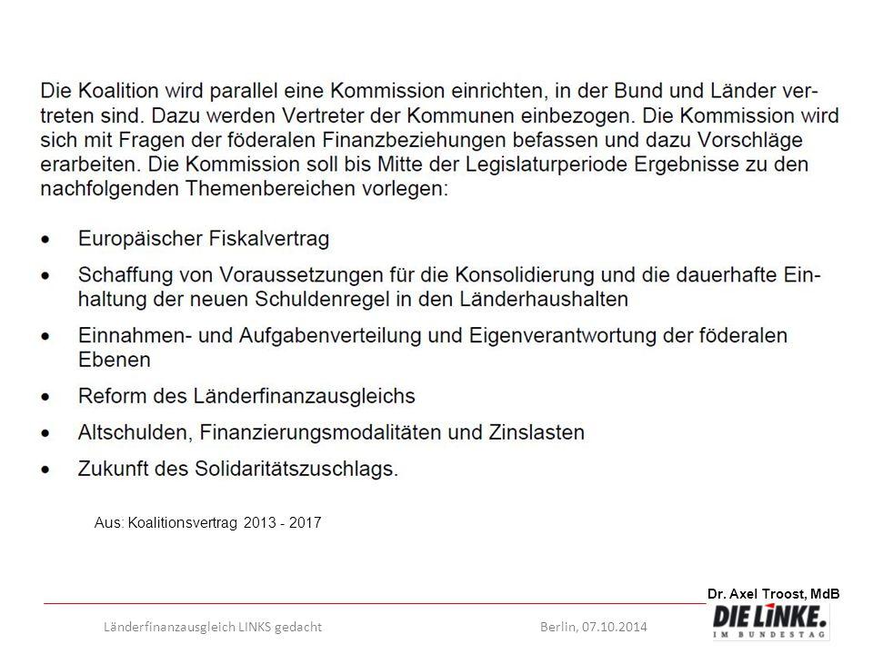 Dr. Axel Troost, MdB Länderfinanzausgleich LINKS gedachtBerlin, 07.10.2014 Aus: Koalitionsvertrag 2013 - 2017