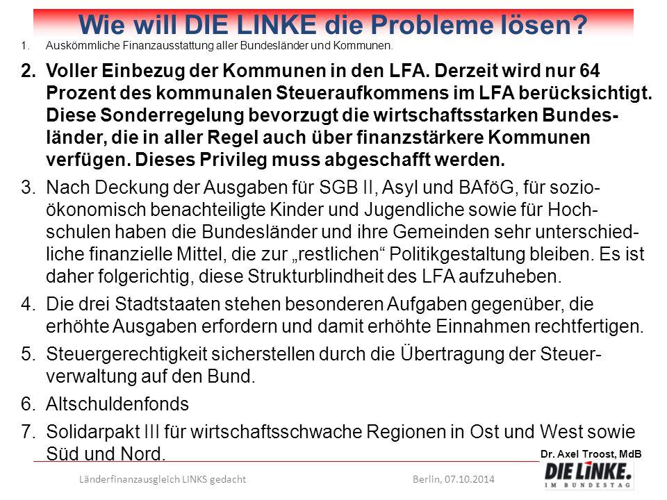 Dr. Axel Troost, MdB Länderfinanzausgleich LINKS gedachtBerlin, 07.10.2014 Wie will DIE LINKE die Probleme lösen? 1.Auskömmliche Finanzausstattung all