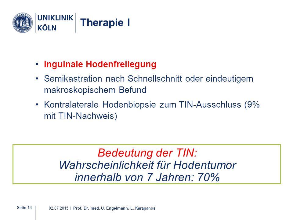 Seite 13 02.07.2015 | Prof. Dr. med. U. Engelmann, L. Karapanos Therapie I Inguinale Hodenfreilegung Semikastration nach Schnellschnitt oder eindeutig