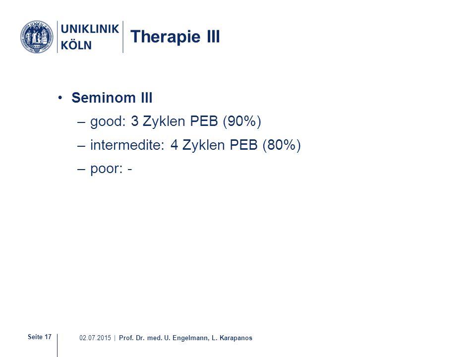 Seite 17 02.07.2015 | Prof. Dr. med. U. Engelmann, L. Karapanos Therapie III Seminom III –good: 3 Zyklen PEB (90%) –intermedite: 4 Zyklen PEB (80%) –p