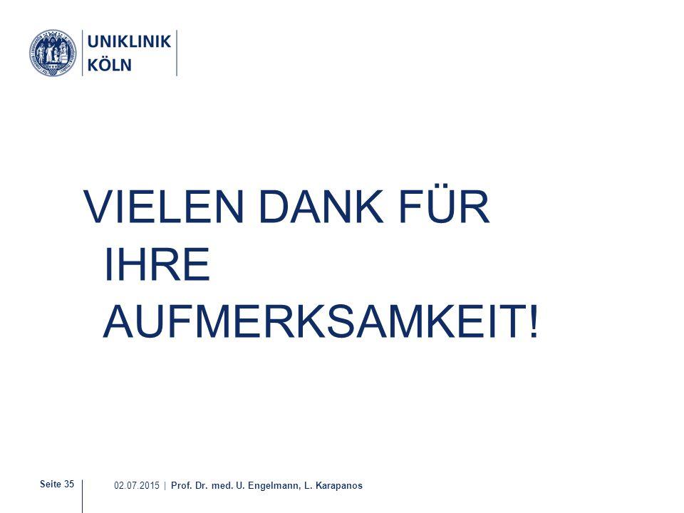 Seite 35 02.07.2015 | Prof. Dr. med. U. Engelmann, L. Karapanos VIELEN DANK FÜR IHRE AUFMERKSAMKEIT!