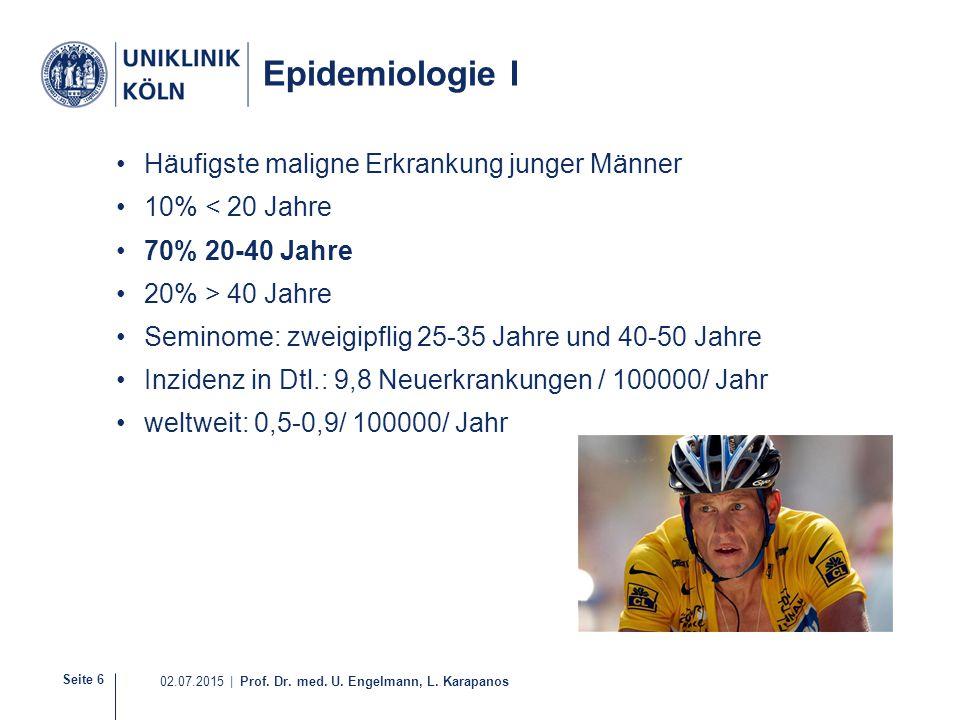Seite 6 02.07.2015 | Prof. Dr. med. U. Engelmann, L. Karapanos Epidemiologie I Häufigste maligne Erkrankung junger Männer 10% < 20 Jahre 70% 20-40 Jah