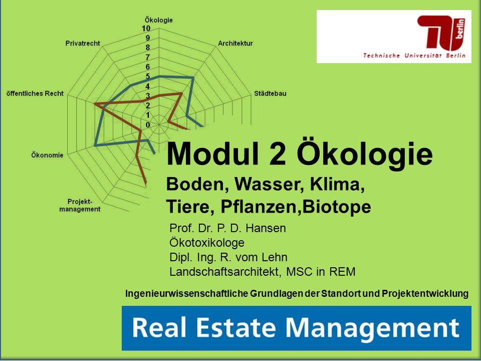 Ingenieurwissenschaftliche Grundlagen der Standort und Projektentwicklung Modul 2 Ökologie Boden, Wasser, Klima, Tiere, Pflanzen,Biotope Prof. Dr. P.