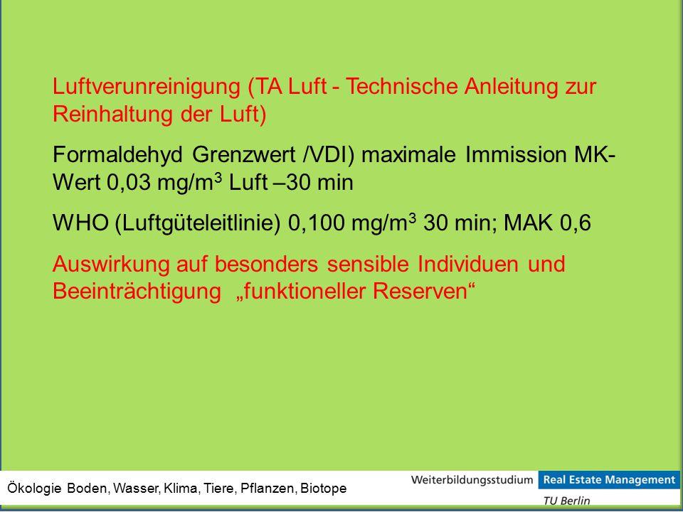 Ökologie Boden, Wasser, Klima, Tiere, Pflanzen, Biotope Luftverunreinigung (TA Luft - Technische Anleitung zur Reinhaltung der Luft) Formaldehyd Grenz
