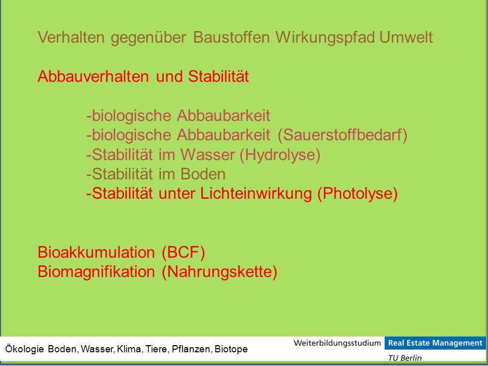 Ökologie Boden, Wasser, Klima, Tiere, Pflanzen, Biotope Verhalten gegenüber Baustoffen Wirkungspfad Umwelt Abbauverhalten und Stabilität -biologische