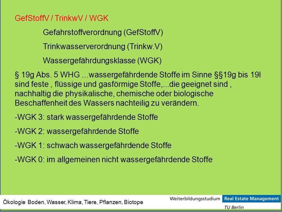 Ökologie Boden, Wasser, Klima, Tiere, Pflanzen, Biotope GefStoffV / TrinkwV / WGK Gefahrstoffverordnung (GefStoffV) Trinkwasserverordnung (Trinkw.V) W