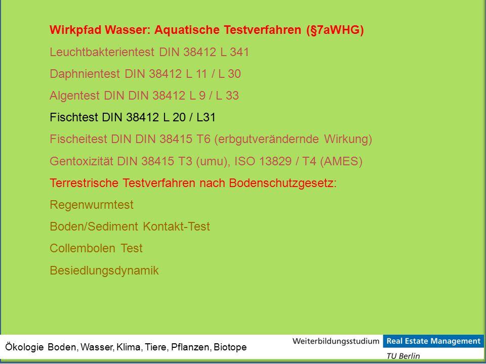 Ökologie Boden, Wasser, Klima, Tiere, Pflanzen, Biotope Wirkpfad Wasser: Aquatische Testverfahren (§7aWHG) Leuchtbakterientest DIN 38412 L 341 Daphnie