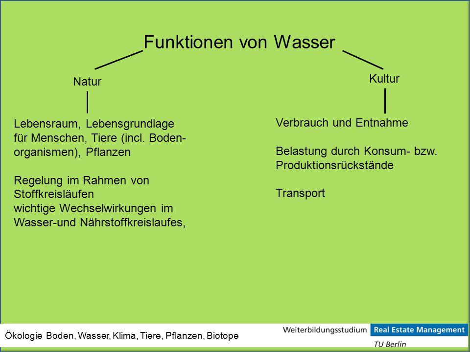 Funktionen von Wasser Natur Lebensraum, Lebensgrundlage für Menschen, Tiere (incl. Boden- organismen), Pflanzen Regelung im Rahmen von Stoffkreisläufe