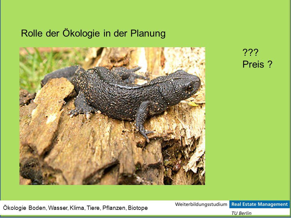 Rolle der Ökologie in der Planung ??? Preis ?