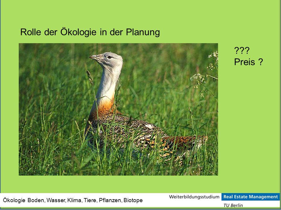 Ökologie Boden, Wasser, Klima, Tiere, Pflanzen, Biotope Rolle der Ökologie in der Planung ??? Preis ?