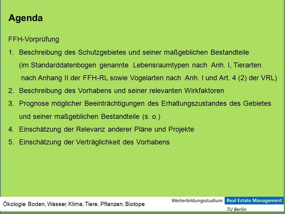 Agenda FFH-Vorprüfung 1.Beschreibung des Schutzgebietes und seiner maßgeblichen Bestandteile (im Standarddatenbogen genannte Lebensraumtypen nach Anh.