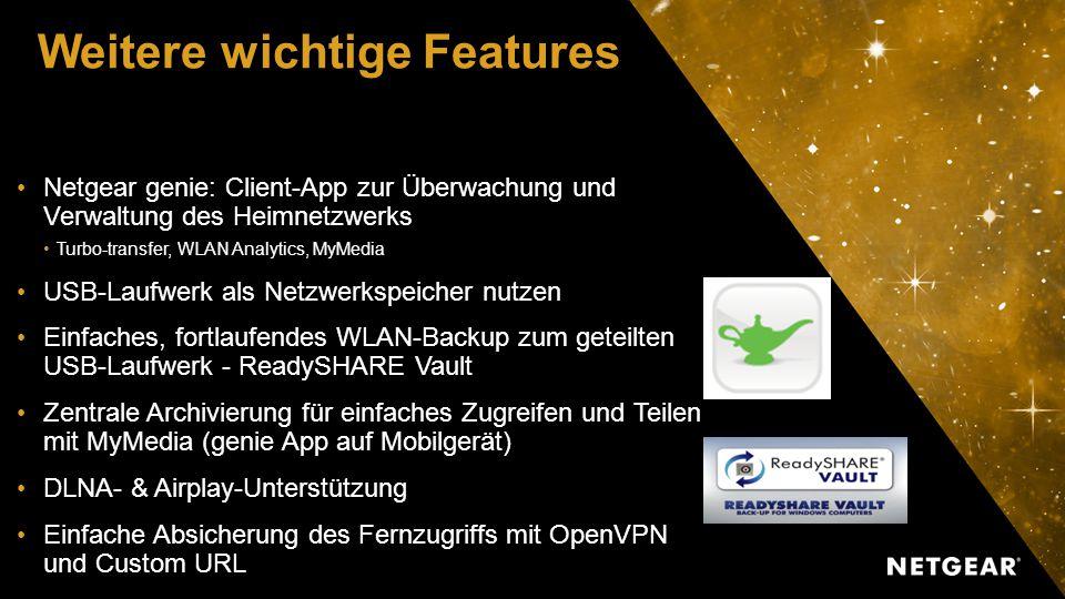 Weitere wichtige Features Netgear genie: Client-App zur Überwachung und Verwaltung des Heimnetzwerks Turbo-transfer, WLAN Analytics, MyMedia USB-Laufwerk als Netzwerkspeicher nutzen Einfaches, fortlaufendes WLAN-Backup zum geteilten USB-Laufwerk - ReadySHARE Vault Zentrale Archivierung für einfaches Zugreifen und Teilen mit MyMedia (genie App auf Mobilgerät) DLNA- & Airplay-Unterstützung Einfache Absicherung des Fernzugriffs mit OpenVPN und Custom URL