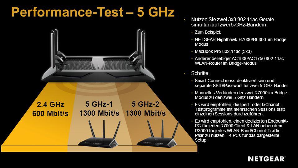 2.4 GHz 600 Mbit/s 5 GHz-1 1300 Mbit/s 5 GHz-2 1300 Mbit/s Performance-Test – 5 GHz Nutzen Sie zwei 3x3 802.11ac-Geräte simultan auf zwei 5-GHz-Bändern Zum Beispiel: NETGEAR Nighthawk R7000/R6300 im Bridge- Modus MacBook Pro 802.11ac (3x3) Anderer beliebiger AC1900/AC1750 802.11ac- WLAN-Router im Bridge-Modus Schritte: Smart Connect muss deaktiviert sein und separate SSID/Passwort für zwei 5-GHz-Bänder Manuelles Verbinden der zwei R7000 im Bridge- Modus zu den zwei 5-Ghz-Bändern Es wird empfohlen, die Iperf- oder IxChariot- Testprogramme mit mehrfachen Sessions statt einzelnen Sessions durchzuführen.