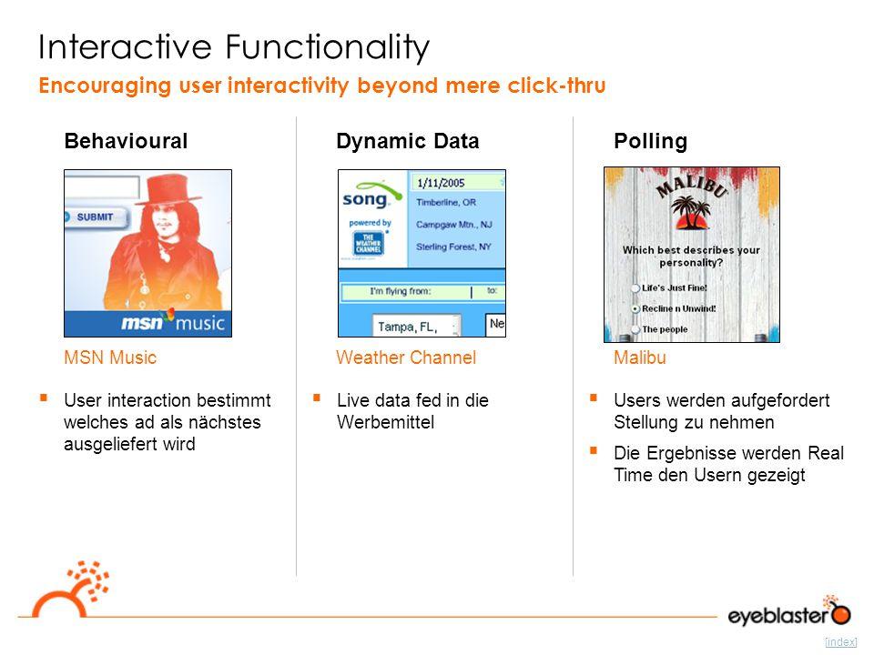 [index] Interactive Functionality Behavioural Encouraging user interactivity beyond mere click-thru  User interaction bestimmt welches ad als nächste