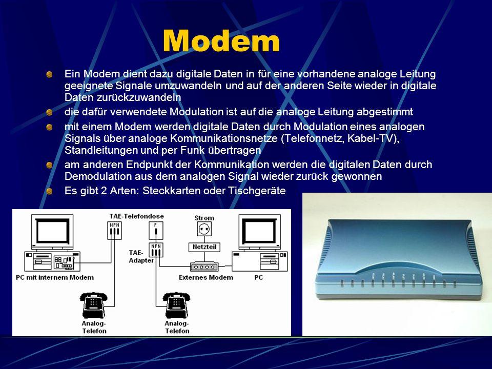 Modem Ein Modem dient dazu digitale Daten in für eine vorhandene analoge Leitung geeignete Signale umzuwandeln und auf der anderen Seite wieder in dig