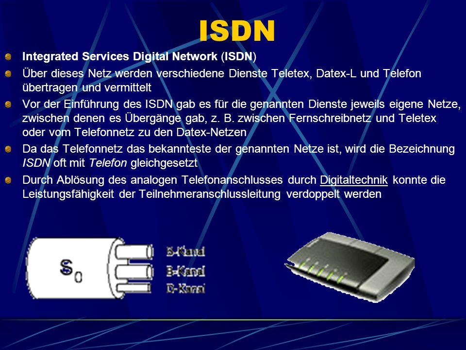 ISDN Integrated Services Digital Network (ISDN) Über dieses Netz werden verschiedene Dienste Teletex, Datex-L und Telefon übertragen und vermittelt Vo